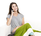 Talking at cellphone — Stock Photo