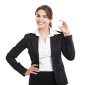 Businesswoman holding  a business card — Stock Photo
