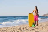 Girl with her bodyboard — Stock Photo