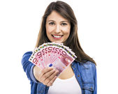 Woman holding some Euro — Stock Photo