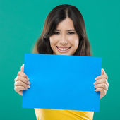 Holding a blue paper — Stock Photo