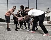 Street basket team — Stock Photo