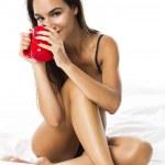 Sexy woman drinking coffee — Stock Photo #41320833