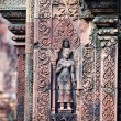 Stock Photo: Statue carving on mandapa, Banteay Sreiz, Cambodia