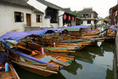 Boats in water town in China — Stock Photo