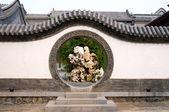 Circle entrance of Chinese garden — Stock Photo