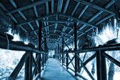 Corridor of wooden bridge — Stockfoto