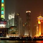 Panorama of Shanghai Pudong at night — Stock Photo #43688677
