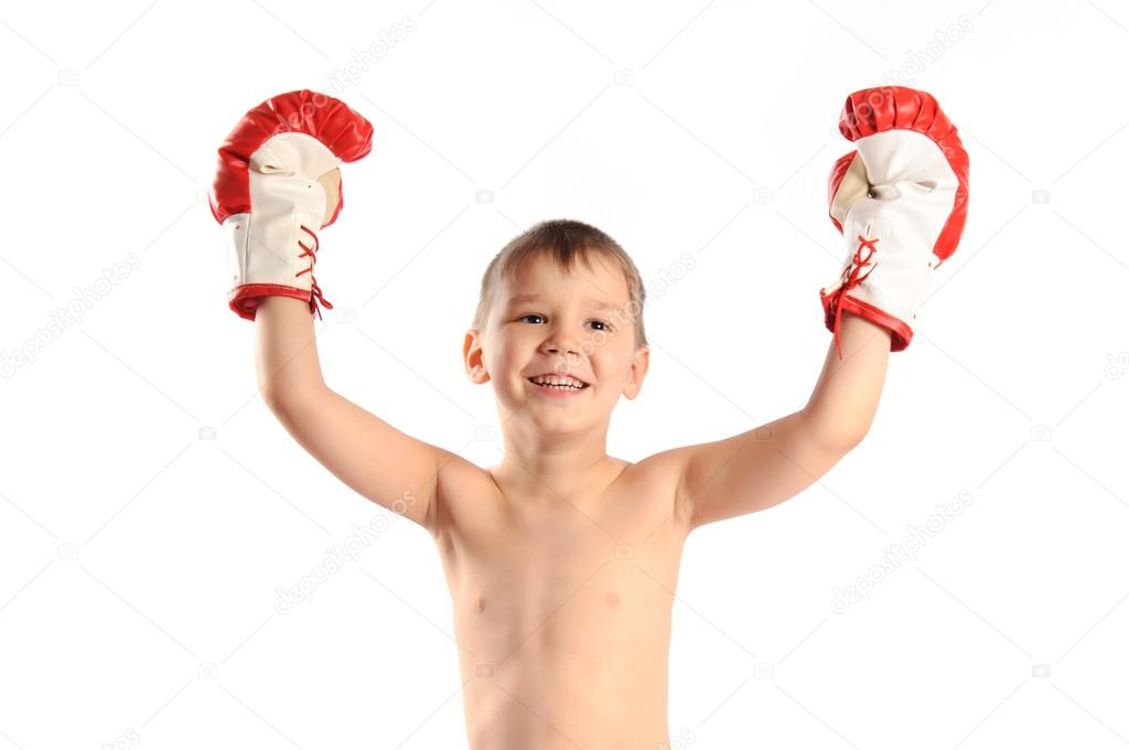 Boy boxer isolated on white background  Foto Stock #12076783