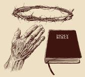 Kolekcja chrześcijaństwa ręka — Wektor stockowy