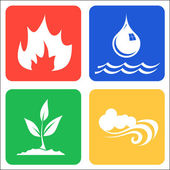 Icons for Earth, Air, Fire and Water. — Stock Vector