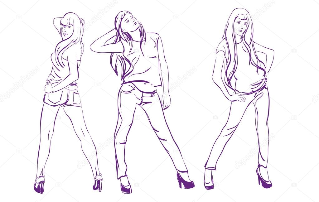 Fashion girls. Sketch. Vector illustration isolated — Stock Vector #13244203
