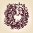 Christmas wreath hand drawn vintage — Stockvectorbeeld