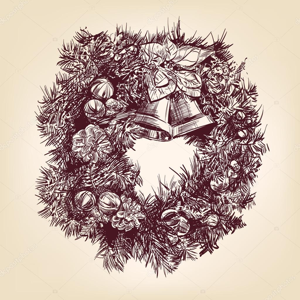 Christmas wreath hand drawn   vector illustration  isolated — Stock Vector #13273368