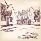 Old English street hand drawn — Stock Vector