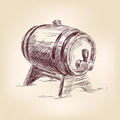 Cask of wine drawing vector illustration — Vecteur