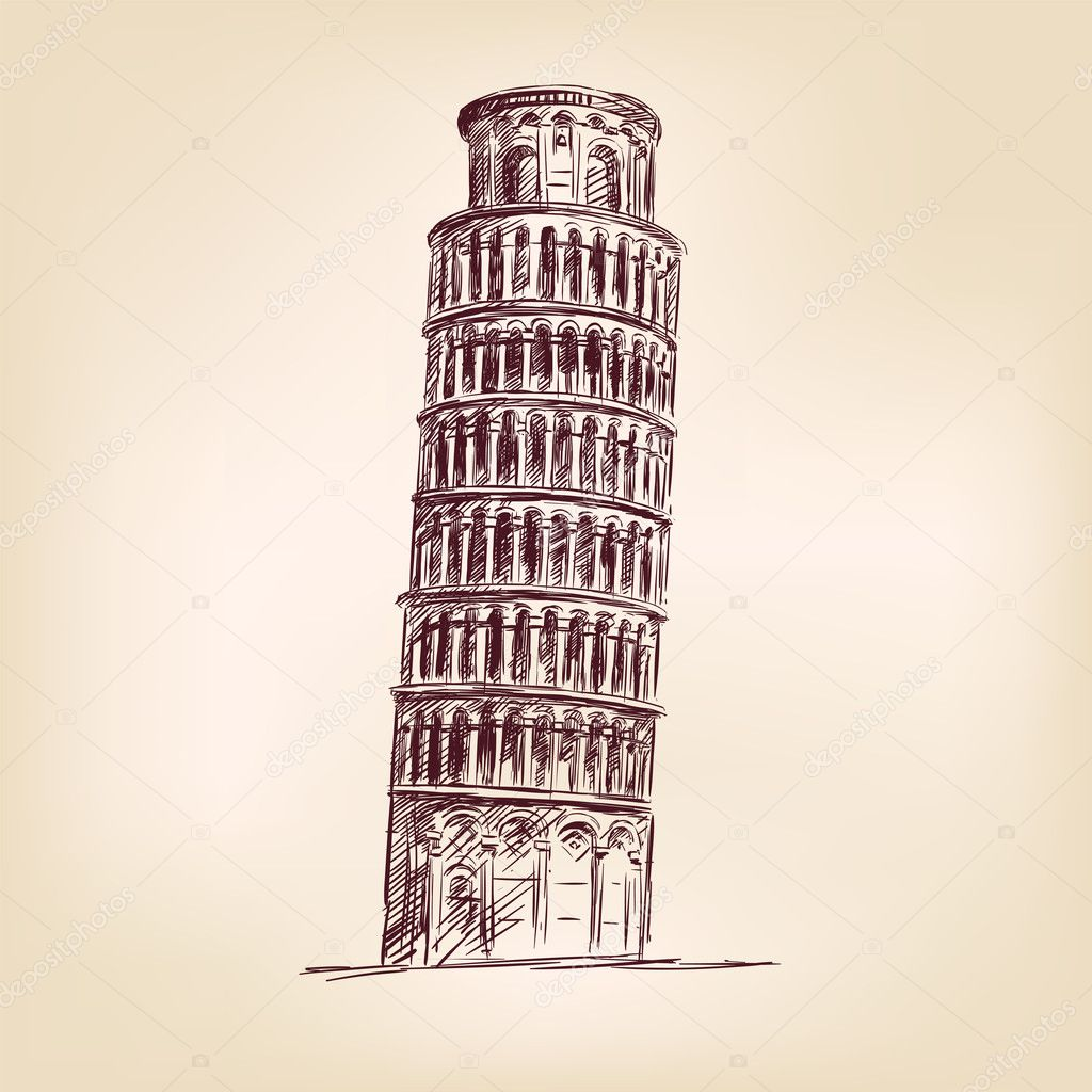 Pisa Tower - hand drawn  vector illustration  isolated — Stock Vector #13720064