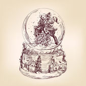 Christmas snow globe hand drawn — Stock Vector