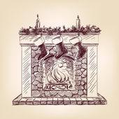 Christmas fireplace hand drawn — Stock Vector