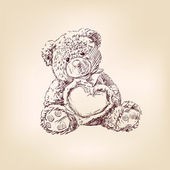 Illustration of teddy bear with heart. — 图库矢量图片