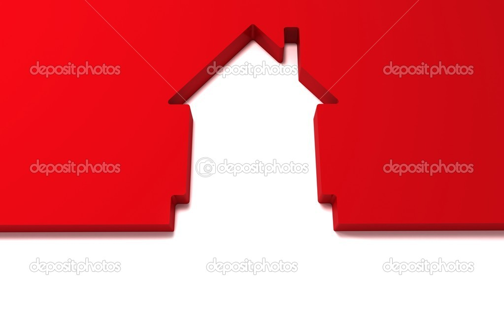 孤立在白色背景上的抽象红房子