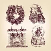 Vánoční ručně kreslenou sada — Stock vektor