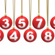 Christmas ball numbers — Stock Photo