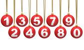 Christmas ball numbers — Stock Photo