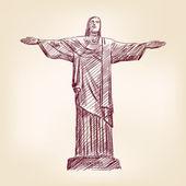 Estatua de Jesucristo en rio de janeiro — Vector de stock