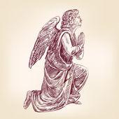 Angel hand drawn — Stock Vector