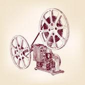 Antiguo cine Proyector dibujados a mano — Vector de stock