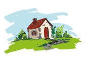 Farmhouse vector illustration — Stock Vector