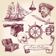 Pirate collection vector illustration — Stock Vector