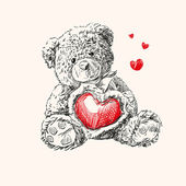 Teddy bear with heart. — Vettoriale Stock