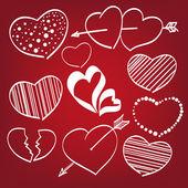 каракули сердца комплект — Cтоковый вектор