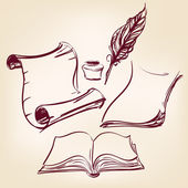 Staré prázdné svitek papíru a pero pera — Stock vektor