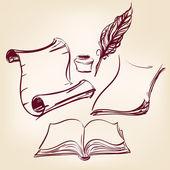 Viejo pergamino en blanco papel y pluma de la pluma — Vector de stock