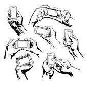 Nastavit ruce chytrý telefon — Stock vektor