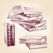 Vintage old books hand drawn set — Stock Vector