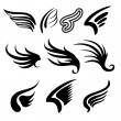 Wings  set   vector  illustration — Stock Vector