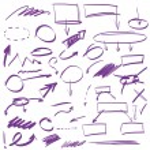 Set of many hand-drawn arrows isolated — Stock Vector