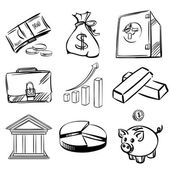Banca iconos set vector illustration — Vector de stock