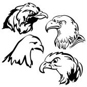 Eagle vector doodle set — Stock Vector