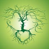 Silhouette di baciare la coppia a forma di albero. — Vettoriale Stock