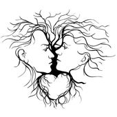 Silhouette of kissing couple shaped by tree. — Stock Vector