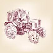 Farm tractor sketch vector illustration — Stockvector