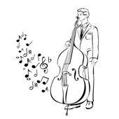 Musicien jouant illustration vectorielle basse contra — Vecteur