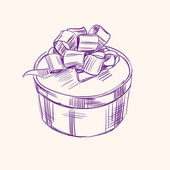 Vintage gift box vector illustration sketch — Vector de stock