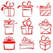 Gift boxes icon set sketch vector illustration — Stock Vector