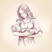 Madonna Mary holding Baby Jesus vector llustration — Vettoriale Stock